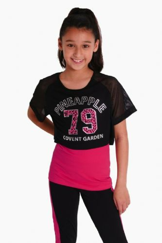 PINEAPPLE DANCEWEAR Girls 79 Mesh Sleeve Double Layer Dance Top Berry Red Black